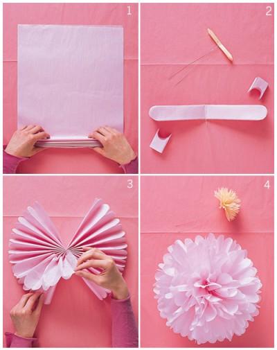 ペーパーポンポン結婚式DIY