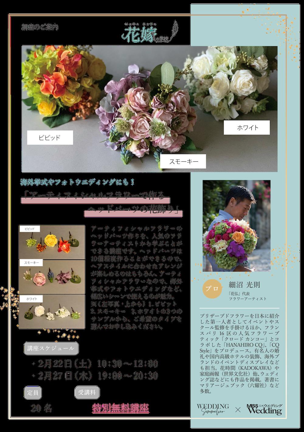 ヘッドパーツの花飾り